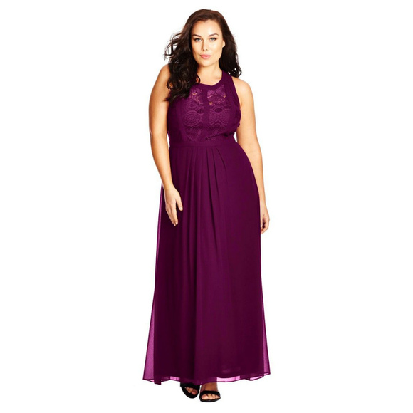 City Chic Dresses & Skirts - CITY CHIC Mulberry Lace Panel Maxi Dress